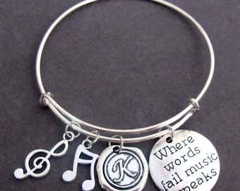 Where Words Fail Music Speaks, Music Bracelet, Music Gift,Music Lovers Jewelry,Expandable Music Charm Bangle Bracelet - Free Shipping In USA