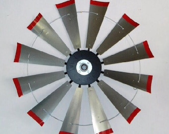 Industrial windmill - 38 inch galvanized windmill with red tips and center cap