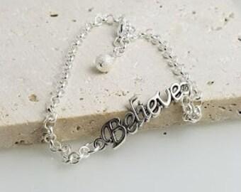 """Silver """"Believe"""" Ankle Bracelet, Silver Ankle Bracelet"""