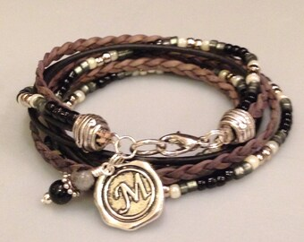 Top Seller! Leather Bracelet, Unisex, Beaded Wrap Bracelet, Leather Bracelet, Personalized, Silver, Black, Custom, Charm,Multi Wrap, Braided