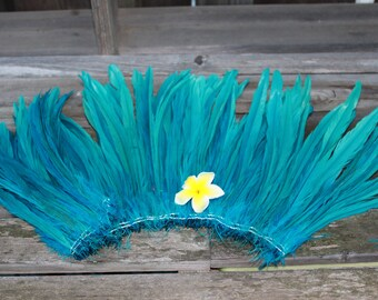Coque feathers 8-10 inch in length in  turquoise, rooster tail feathers