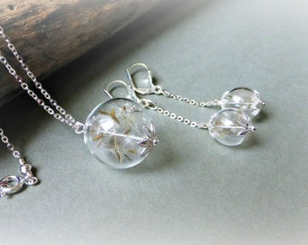 Dandelion wish necklace Terrarium jewelry Dandelion jewelry Real flower necklace Botanical necklace Jewelry set for bridesmaids Gift for her