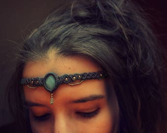 Headband with brass beads and Amazonite macrame