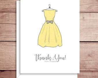 Bridesmaid Dress Note Cards - Bridal Shower Note Cards - Bridal Stationery - Bridal Shower Thank You Notes - Wedding Shower Note Cards