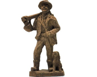 Carved Figure Hunter With His Catch and Trusty Dog – Vintage Home Decor
