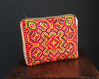 Bag Rainbow Embroidered Pouch | Make up bag, Hmong Fabric, Tribal Pattern Cross-stitch, Small Womens Clutch Bag, unique gift for her