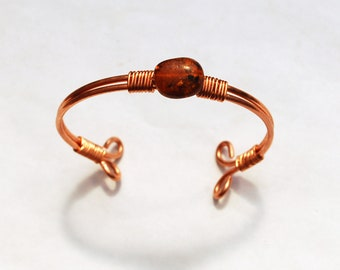 Copper and Amber Bracelet/Bangle Wire Wrapped