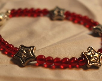 Stars and Red Glass Beaded Bracelet