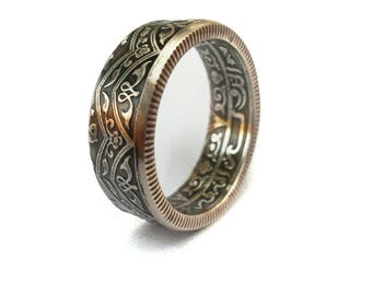 Coin Ring, double sided coin ring, Moroccan 1 Frank 1921-1924 year, artisan coin ring, coin jewelry, 3-D coin ring, mans accessories
