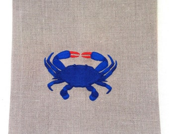 Embroidered Towel.  Tea Towel, Guest Towel or Hand towel.  Blue Crab.  Fine Linens.  Hostess Gift.