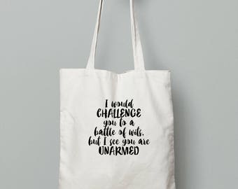 Battle of Wits Tote bag - bookish gift, literary, Shakespeare, book bag