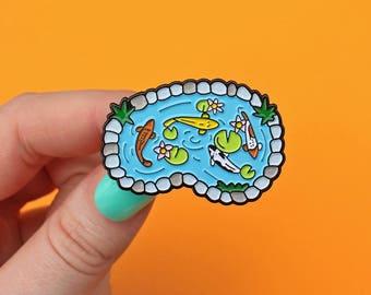 Fish pond, colourful goldfish / koi carp enamel pin - ornamental pond - fish pin - lapel pin - flair - pin badge