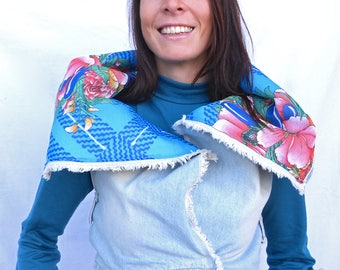 Denim waistcoat with floral lining - recycled fabrics - turquoise - floral - casual - original clothing