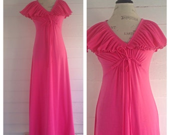 Vintage 70s Bright Pink Floor-Length Dress
