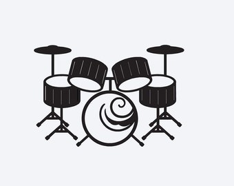 Drums Vinyl Decal, Cell Phone Decal, Tablet Decal, Car Decal, Wall Decal, Personalized