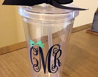 Custom Monogram Cup - Monogrammed Tumbler, Personalized Tumbler, Acrylic Monogram Cup
