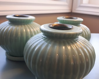 Vintage Mint Green Pottery Candelabra Home Decor Candles Candle Holder Centerpiece