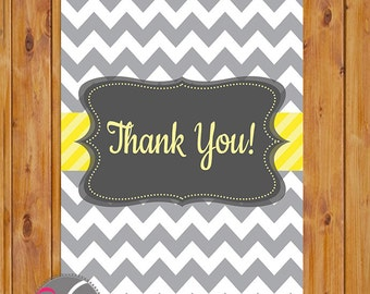 "Simple Grey Chevron Thank You Card Flat Card Print Your Own Neutral Grey Yellow All Occasion 4""x6"" Digital Instant Download (ty-cy)"