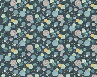 Fossil Rim - Hexagon Navy by Deena Rutter for Riley Blake Designs, 1/2 yard, C6612-Navy