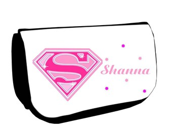 Black cosmetic case /crayons Supergirl personalised with name