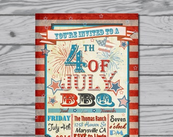 4th of July invitation / BBQ / potluck / picnic / vintage / fireworks / flags / red, white & blue