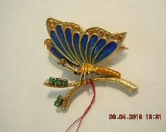 14K Enamel Butterfly with Emeralds & Diamond Antenna
