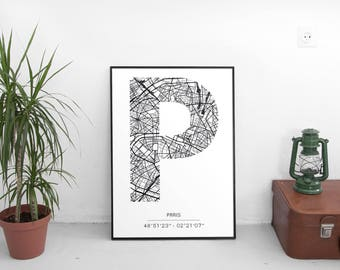 Poster Paris - Monogram (A4)