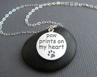 sterling silver pawprint necklace paw prints on my heart one 1 etched paw pet pride pendant animal love charm simple dog cat jewelry 5/8""