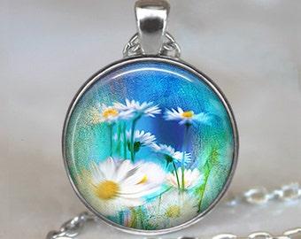 Daisy Field art pendant, daisy necklace daisy jewelry, flower jewelry wildflower pendant summer jewelry keychain key chain key ring key fob