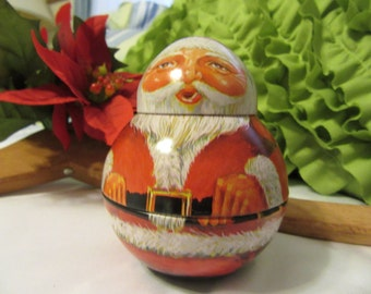 Santa Roly Poly Unique 1982 Vintage Tin Christmas Holiday Decoration Gift Idea Santa Collector Home Decor Collectible