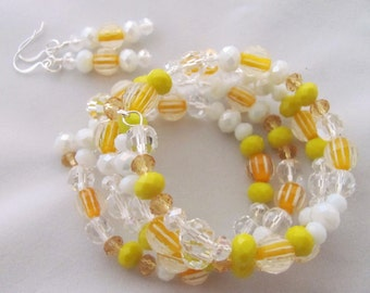 Shades of Yellow Bracelet Free Earrings Striped Yellow Bracelet White Bracelet Sunshine Bracelet Memory Wire Bracelet One Size Fits Most
