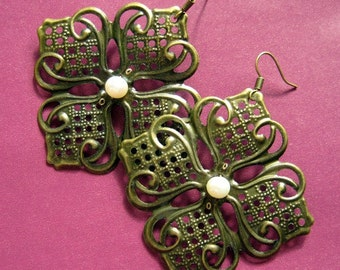 CLEARANCE SALE - Blossom earrings - vintage style brass flower and pearl earrings