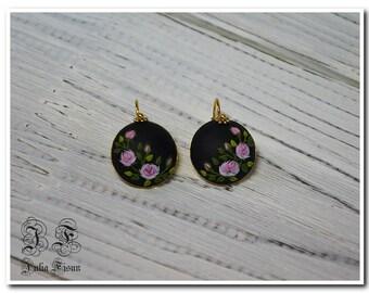 Pink rose earrings drop earrings black earrings floral earrings gold plated sterling silver earrings birthday gift for her jewelry gift rose