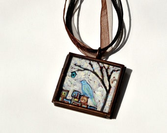 Holiday SALE - One of a Kind Statement Necklace - FREE Priority - Original Wearables - Handpainted Bird Pendant - Dana Marie Wearable Art