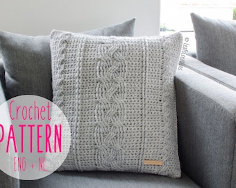 Crochet pattern pillow cable - Crochet pattern cable pillow - Pattern cable cushion - Pattern cable pillow cover - English and Dutch