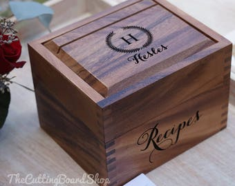 Recipe box etsy personalized wedding recipe box acacia wood custom heirloom recipe box thecheapjerseys Images