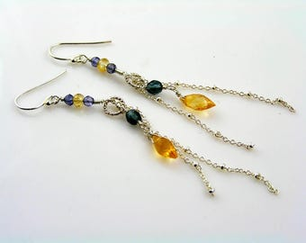 Citrine Earrings, Sterling Silver Earrings with Citrine and Iolite, Gemstone Earrings, Handmade Jewelry, Long Earrings, E815