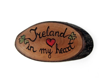 Ireland In My Heart Pyrography Rustic Bradford Pear Twig Slice Brooch - Pin by Tanja Sova