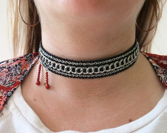 Vampire Bite Choker Halloween Necklace Black Ribbon with Silver Chain