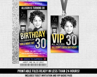 Party Bus Birthday Ticket Invitation + VIP All Access Pass (Printable PDF Files) - Any Age - 13th 16th 18th 21st 30th 40th - Girls Night Out