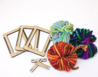 Miniature Weaving Loom Kit - SET OF THREE, Make Your Own, Ornament or Brooch