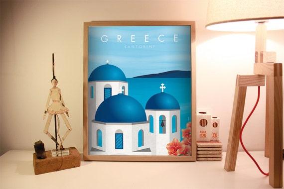 Santorini. Greece print. Wall decor art. Digital print. Illustration.  City. Travel. 15,75x19,69 inch