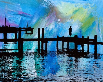 Chesapeake Bay Print (Bright Abstract Painting with Black Silkscreen) Various Size Options, Beach Home Decor
