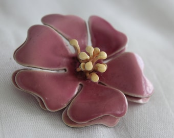 Purple Enamel Flower Brooch