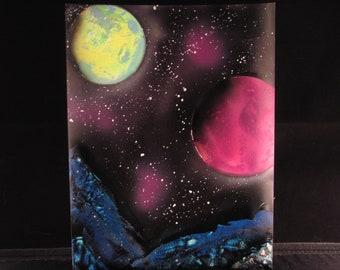 Space Scene Spray Painting - Black Light Reactive
