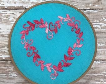 Botanical Heart • Light Blue • embroidered hoop