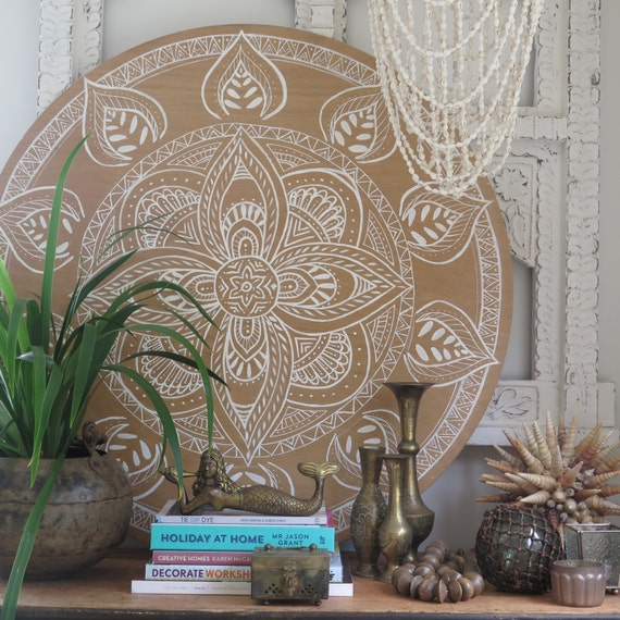 White Dream Mandala Natural Round Wall Art, Boho Design,  Natural Timber Porthole