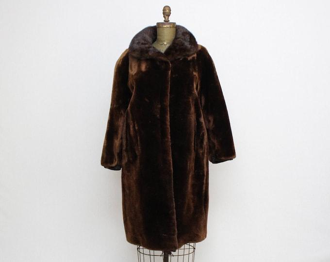 Vintage 1960s Mink Trimmed Dark Brown Fur Coat - Size Medium