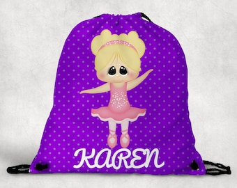 Personalized Drawstring Backpack - Ballerina Backpack - Ballerina Ballet Bag - Personalized Kids Drawstring Bag