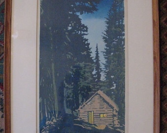 "Waldo S Chase artist-signed ""Moraine Cabin"" woodblock print"